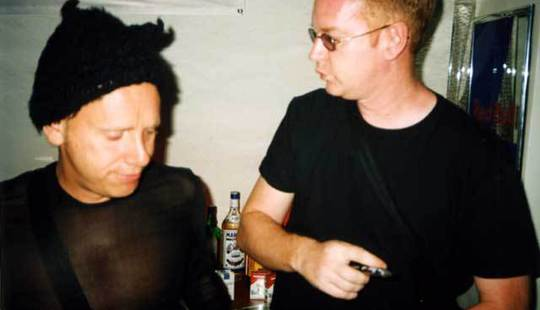Martin Gore/Andy Fletcher visiting the Depeche Mode bar